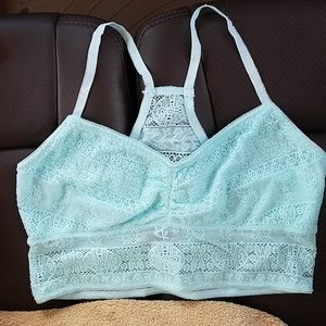 Maurices Lace Mint Blue Green Bralette Size L